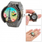 Retro Style Eiffel Tower Pattern Finger Ring Quartz Watch - Black