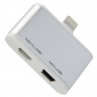 3-in-1 Micro + Mini USB 5Pin um 8Pin Adapter w / USB-Kabel für iPhone 5 / iPad 4 - Silber + Weiß