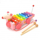 Cute Mouse Style Hand Knock Glockenspiel Xylophone 8 Notes Musical Instrument Toy