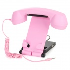 HAPTIME MKITP-3 Retro Telephone Handset w/ Holder for Iphone / Samsung / HTC - Pink (3.5mm Plug)