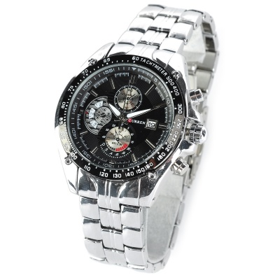 CURREN 8083 Men's Round Dial Stainless Steel Band Quartz Wrist Watch w/ Calendar - Black + Silver