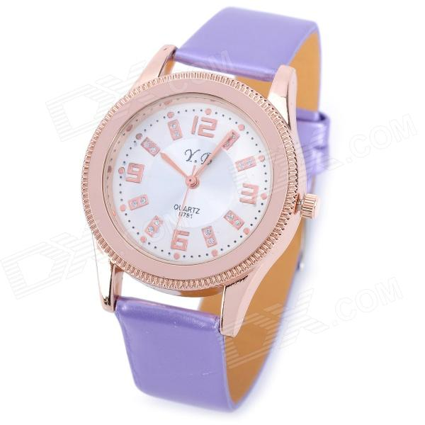 791 Fashion PU Band Quartz Wrist Watch for Women - Purple + Golden (1 x 626)