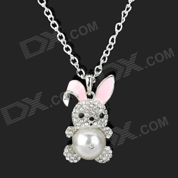 Cute Pearl Rabbit Style Zinc Alloy Sweater Necklace - Silver annular black pearl diamond pendant alloy necklace