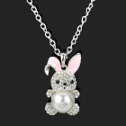 Cute Pearl Rabbit Style Zinc Alloy Sweater Necklace - Silver