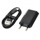 EU Plug Power Adapter + Blitz 8-Pin Stecker auf USB Stecker Datenkabel für iPhone 5 Set - Schwarz