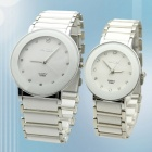 Valentine's Fashionable Couple Steel Alloy Quartz Wrist Watch w/ Crystal- White