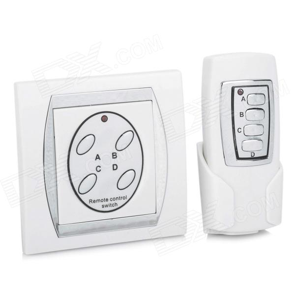 FK-924A 4-CH Family Use Digital Wireless Remote Control Switch - White + Silver