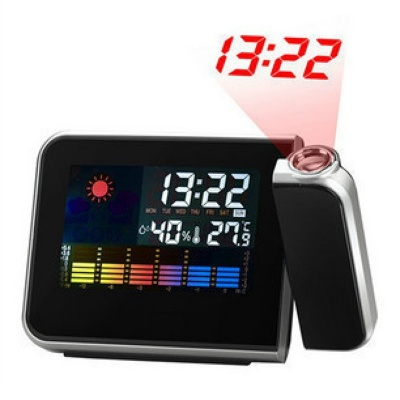Alarm Clock w/ Temperature Humidity Display / Time Projector - Black