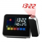 Multi-Function Alarm Clock w/ Temperature Humidity Display / Time Projector - Black + Grey (2 x AAA)