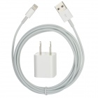 USB 8-Pin Lightning Data / Charging Cable w/ 2-Flat-Pin Plug Power Adapter for iPhone 5 - White