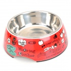 Cute Patterns 2-in-1 Melamine + Stainless Steel Eating / Drinking Bowl for Pets - Red (300~400mL)
