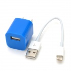 US Plug Power Adapter + 8-Pin Lightning Male to USB Male Data Cable Set for iPhone 5 + More - Blue