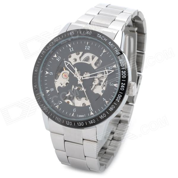 Daybird 3668 Skull Skeleton Stainless Steel Mechanical Wrist Watch for Men - Silver + Black