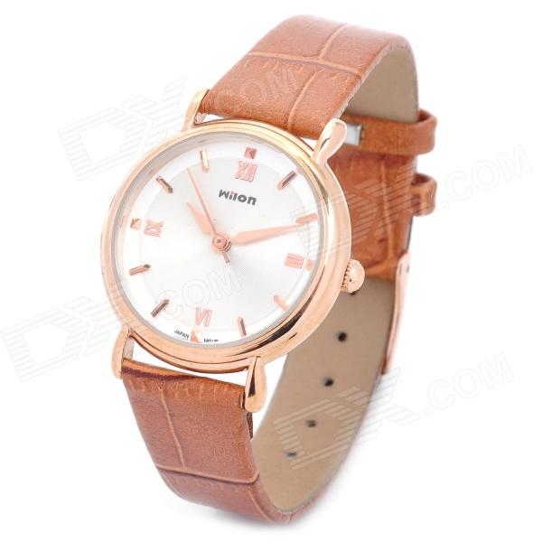 Wilon Artificial Leather Band Analog Quartz Wrist Watch for Women - Brown + White paidu fashion men wrist watch casual round dial analog quartz watch roman number faux leatherl band trendy business clock