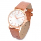 Wilon Artificial Leather Band Analog Quartz Wrist Watch for Women - Brown + White