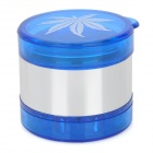 Marijuana Leaf Pattern Aluminum 5-Layer Herb Cigar Cigarette Grinder - Skyblue