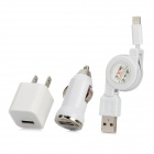 USB US Plug Power Adapter w/ Car Charger + Retractable USB to 8pin Lightning Cable - White