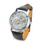 Hollow-Out Design Self-Winding Mechanical Wrist Watch for Men - Silver + Black
