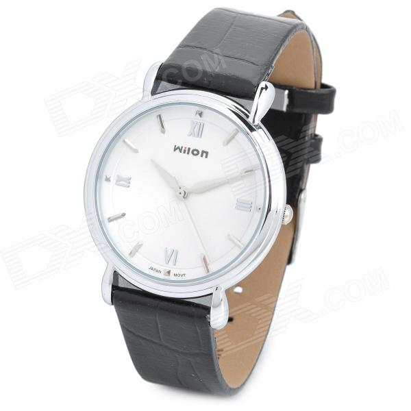 Wilon Artificial Leather Band Analog Quartz Wrist Watch for Men - White + Black (1 x SR626SW) paidu fashion men wrist watch casual round dial analog quartz watch roman number faux leatherl band trendy business clock
