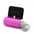 8-Pin Lightning Data / Charging Dock w/ Retractable Cable for iPhone 5 - Deep Pink