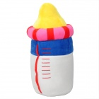 Milk Bottle Style PP Cotton + Coral Velvet Pillow Toy - Red + White + Blue + Yellow + Deep Pink