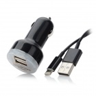 Dual USB Car Charger w/ USB to 8pin Lightning Charging Cable for iPhone 5 - Black (DC 12-24V)