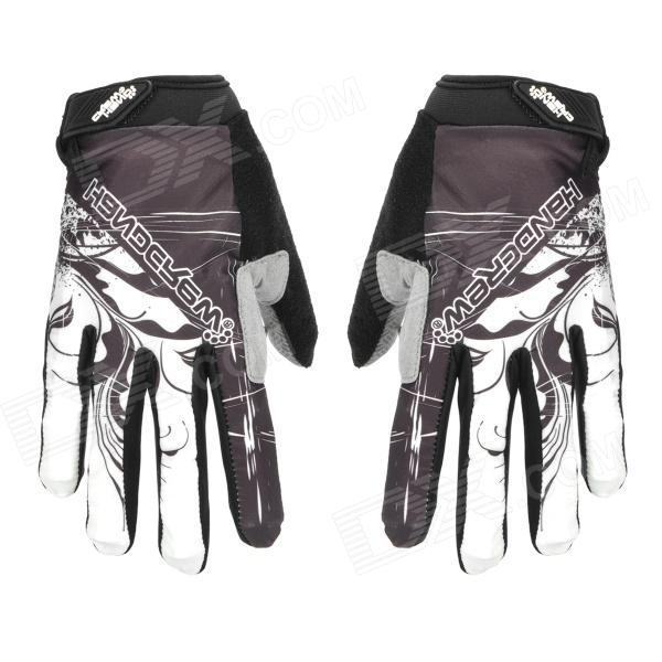 Simple Pattern Outdoor Cycling Full Finger Anti-Slid Silicone Gloves - Black (Pair / XL Size)