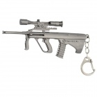 084 Unique Zinc Alloy Toy Gun w/ Telescope Keychain - Silver Black