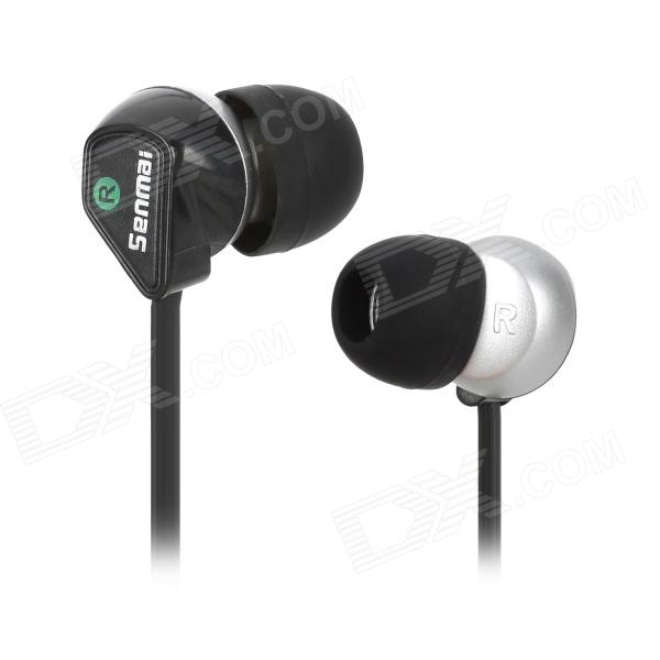 Senmai SM-E1011 Stylish In-Ear Flat Cable Earphone - Black + Silver (3.5mm Plug) awei stylish in ear earphone with microphone for iphone ipad more black 3 5mm plug
