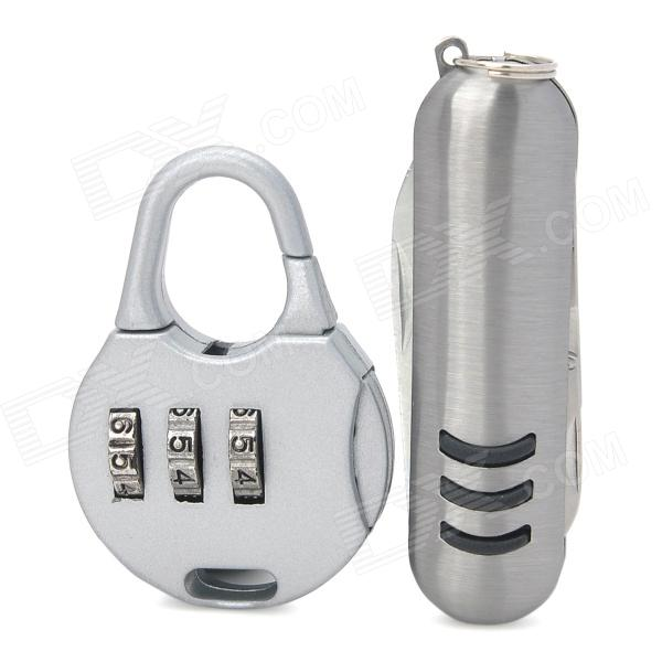 Mini Iron 3-Digit PIN Combination Pad Lock w/ Multi-Function Knife - Silver fashionable outdoor mini silver multi function combination pliers with led light