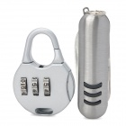 Mini Iron 3-Digit PIN Combination Pad Lock w/ Multi-Function Knife - Silver