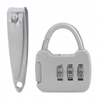 Mini Iron 3-Digit PIN Combination Pad Lock w/ Nail Clipper - Silver