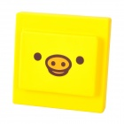 Creative Cute Pig Style Safe Dust-Proof Silicone Power Switch Cover - Yellow