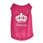 Cute Princess Crown Style Vest Dog Apparel Pet Clothes - Deep Pink (Size L)