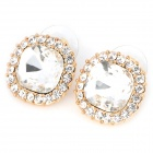 Fashion Imitation Diamond Crystal Earrings Ear Studs - Golden (Pair)