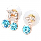 MaDouGongZhu R128-5 Musical Note Style Alloy + Rhinestone Ear Studs - Golden + Blue (Pair)