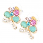 MaDouGongZhu R126-2 Butterfly Style Alloy + Rhinestone Ear Studs (Pair)