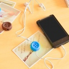05142 Creative Cute Button Style Earphone / Wire Winder - Blue
