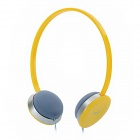 LoTong IP-118 Stereo Headphones Earphones w/ Microphone for Iphone - Grey + Yellow (3.5mm Plug)