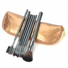 MEGAGA Professionelle 7-in-1 Nylon Fiber Cosmetic Pinsel Set w / Zipper Bag - Golden + Schwarz