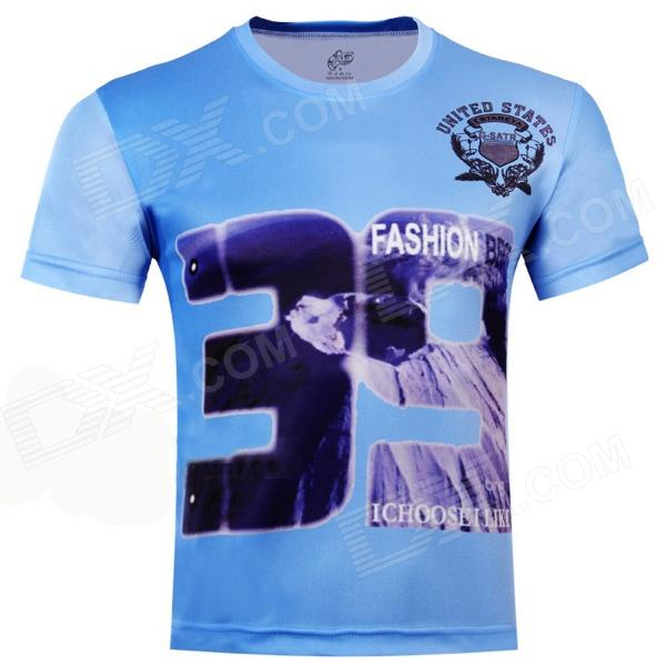 Laonongzhuang Hip-Pop Style Number 39 Printing Short Sleeve T-Shirt - Light Blue (Size-XXXL)