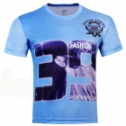 Laonongzhuang Hip-Pop Style Number 39 Drucken Kurzarm T-Shirt - Light Blue (Size-XXXL)