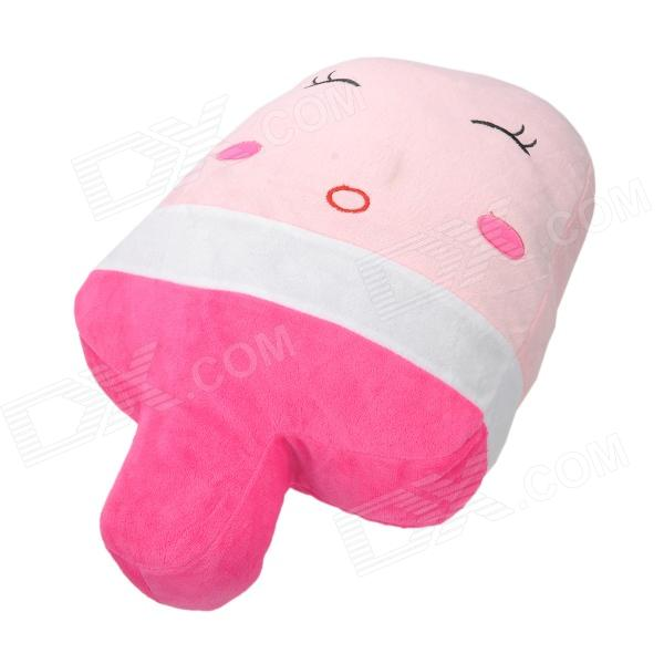 Cute Fleece Pillow : 124 Cute Ice Cream Lint + Coral Fleece Cushion Pillow - Pink + White - Free Shipping - DealExtreme