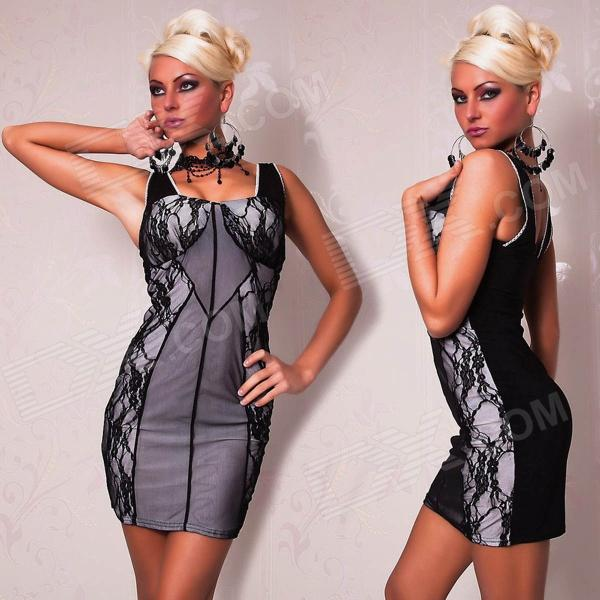 2462 Exquisite Sexy Sleeveless Vest Pencil-Dress w/ Splicing Lace - Light Grey +Black (M-Size)