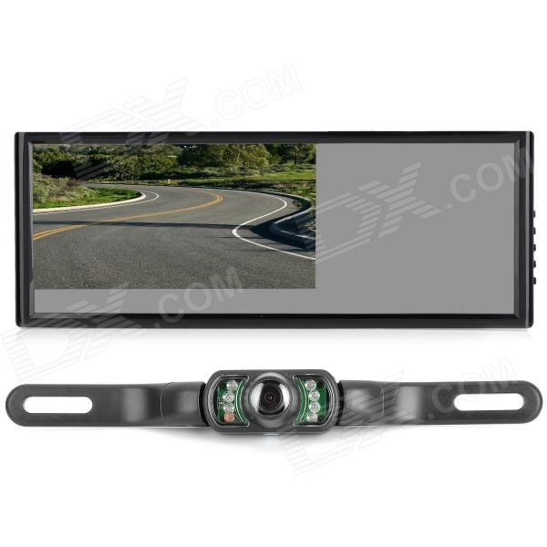 AC-7009+340 7'' LCD Car Rearview Monitor + Camera w/ 7-LED IR Night Vision - Black 7 lcd rearview monitor w remote controller black pal ntsc