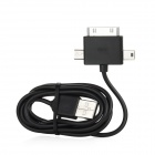 3- in-1 Data Charging Cable for iPhone 4S + Samsung + Nokia + HTC - Black