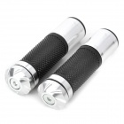 Motorcycle Anti-Slip Rubber Aluminum Alloy 22mm Handlebar Covers - Black + Silver (2 PCS)