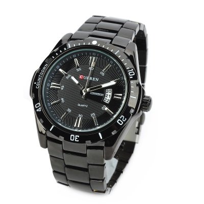 CURREN 8110 Men's Steel Band Quartz Wrist Watch w/ Calendar - Black