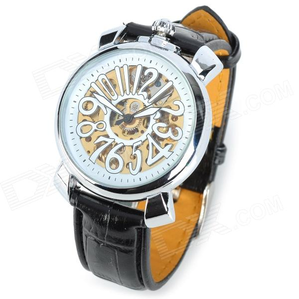 CJIABA GK8010-W Artificial Leather Band Hollow-Out Mechanical Wrist Watch for Men - Black + White cjiaba gk8001 w pu leather band analog skeleton mechanical wrist watch for men black white