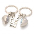 "Zinc Alloy Half Heart Style Keychain w/ ""I Love You"" Sound Effect for Lovers - Silver"